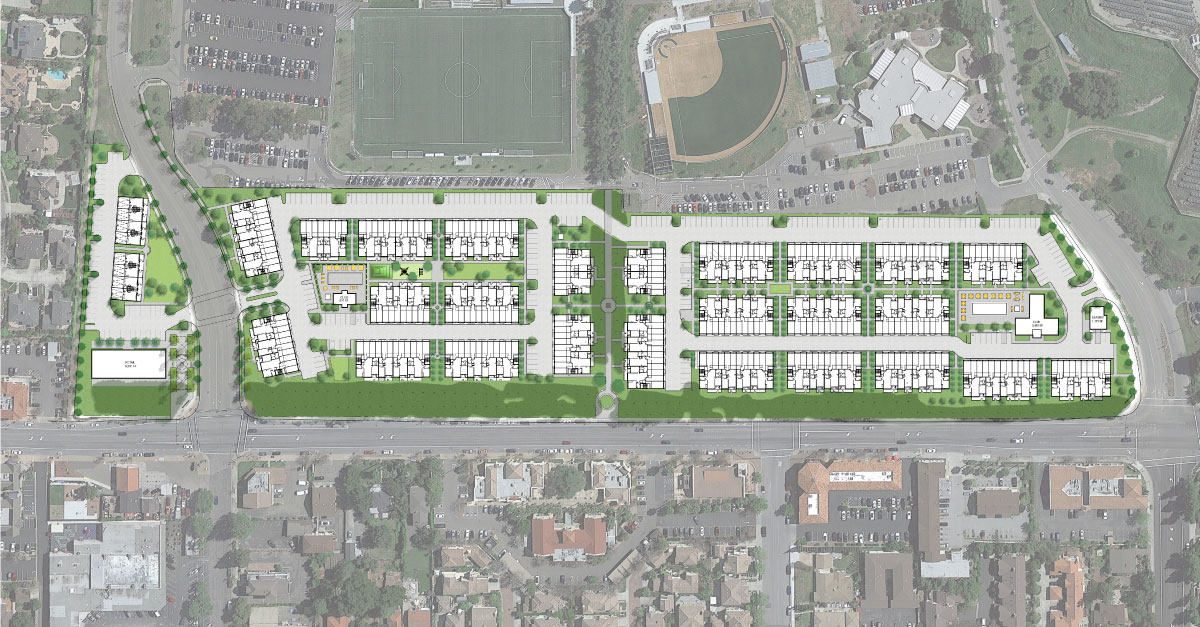 A rendering shows SteelWave's initial concept for the 15-acre frontage property along Mission Boulevard in Fremont. OHLONE COLLEGE PUBLIC DOCUMENTS