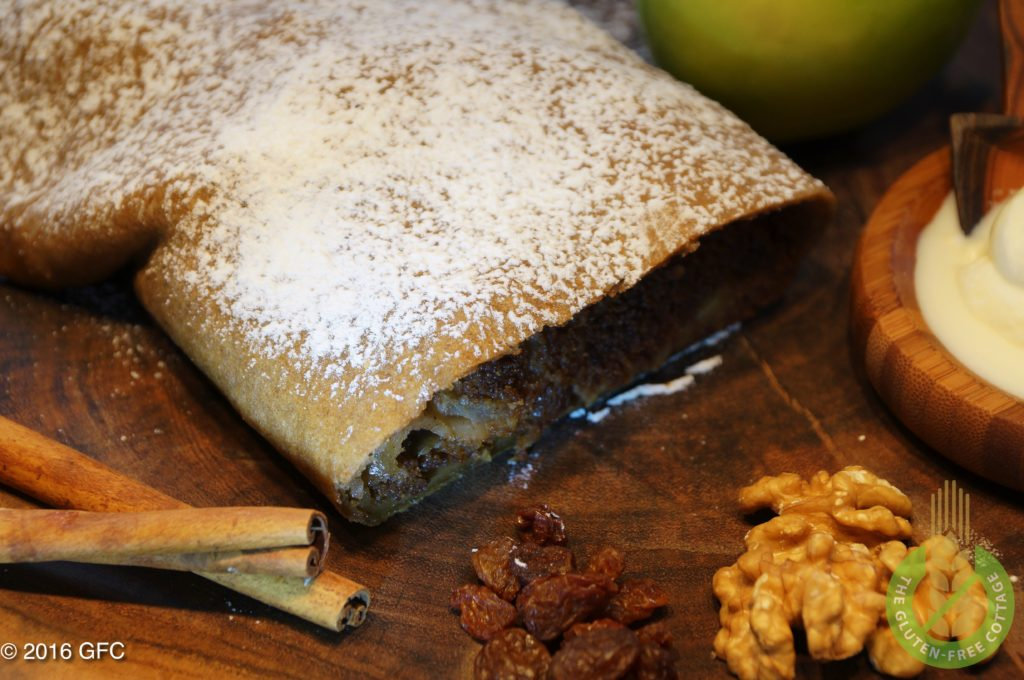 Apple strudel is typically served with whipped cream (gluten-free apple strudel).