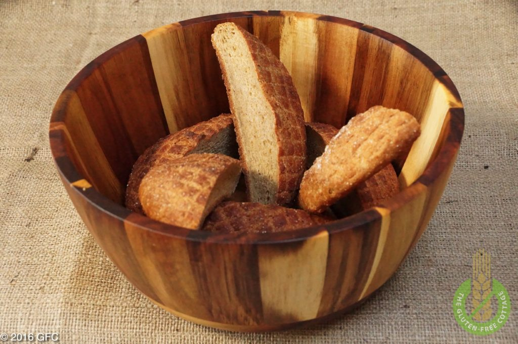 Dry old left-overs from home-made gluten-free brown bread (gluten-free bread crumbs).