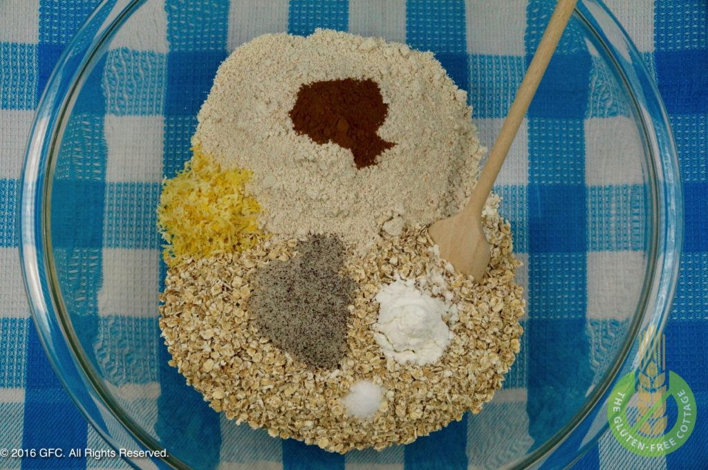 Mix all dry ingredients (gluten-free oatmeal cookies).
