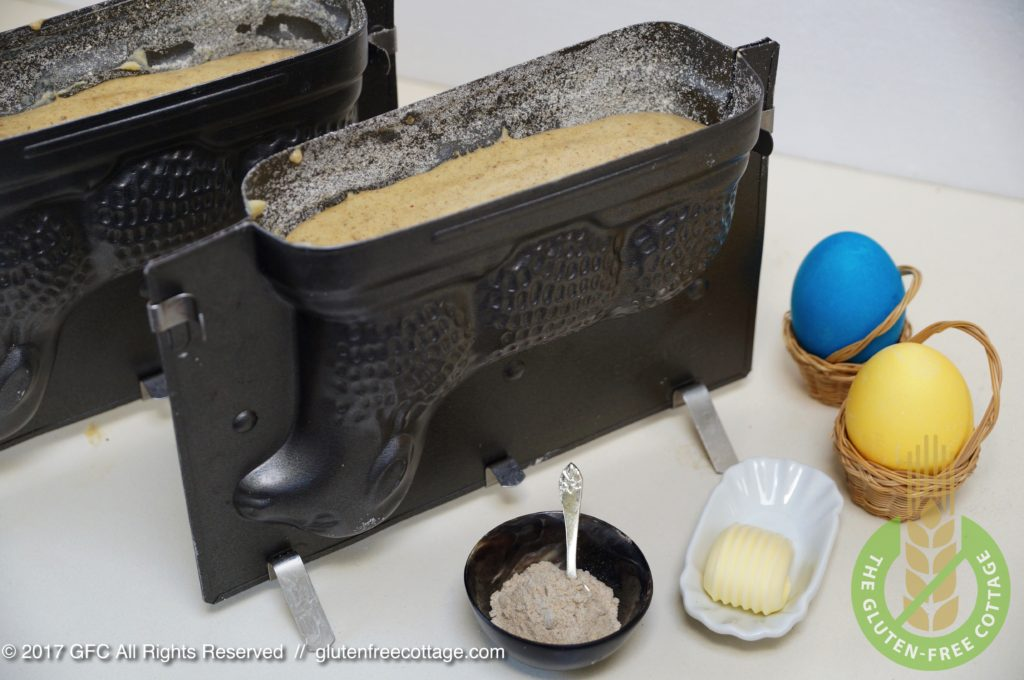 Fill dough in prepared Easter lamb cake forms (gluten-free Easter lamb cakes).
