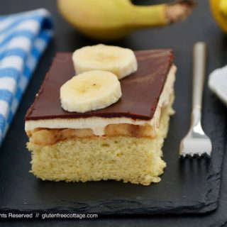 Gluten-free banana cake with chocolate glaze.
