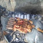 BBQ on Marloes Sands with a small but adequate fire
