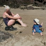 First grandchild visitors, Watwick Sand