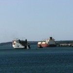 Irish ferry passing tanker