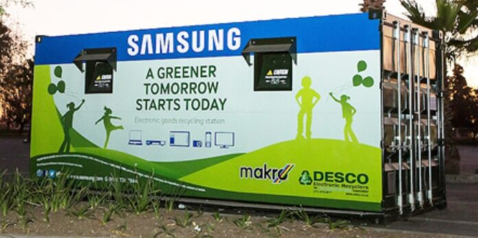 A Samsung-branded e-waste collection container