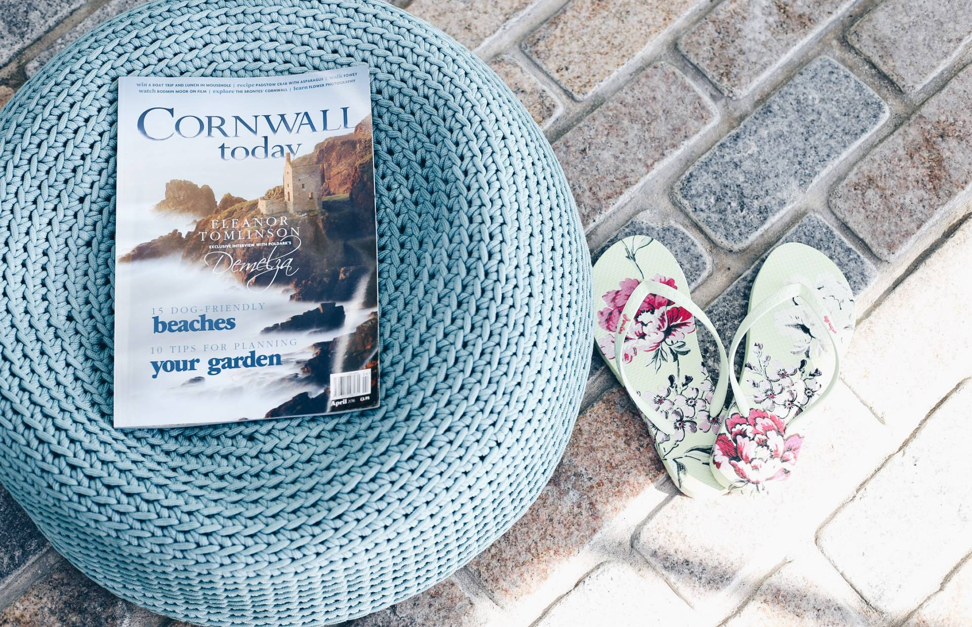 Dreaming of Chanel wearing Joules SS16 flip flops in Watergate Bay, Cornwall