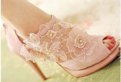 Floral Lace Bridal Shoes For Summer Season Weddings