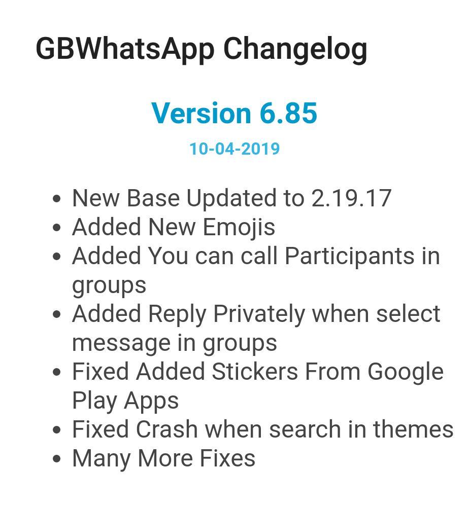 Gbwhatsapp changelog download