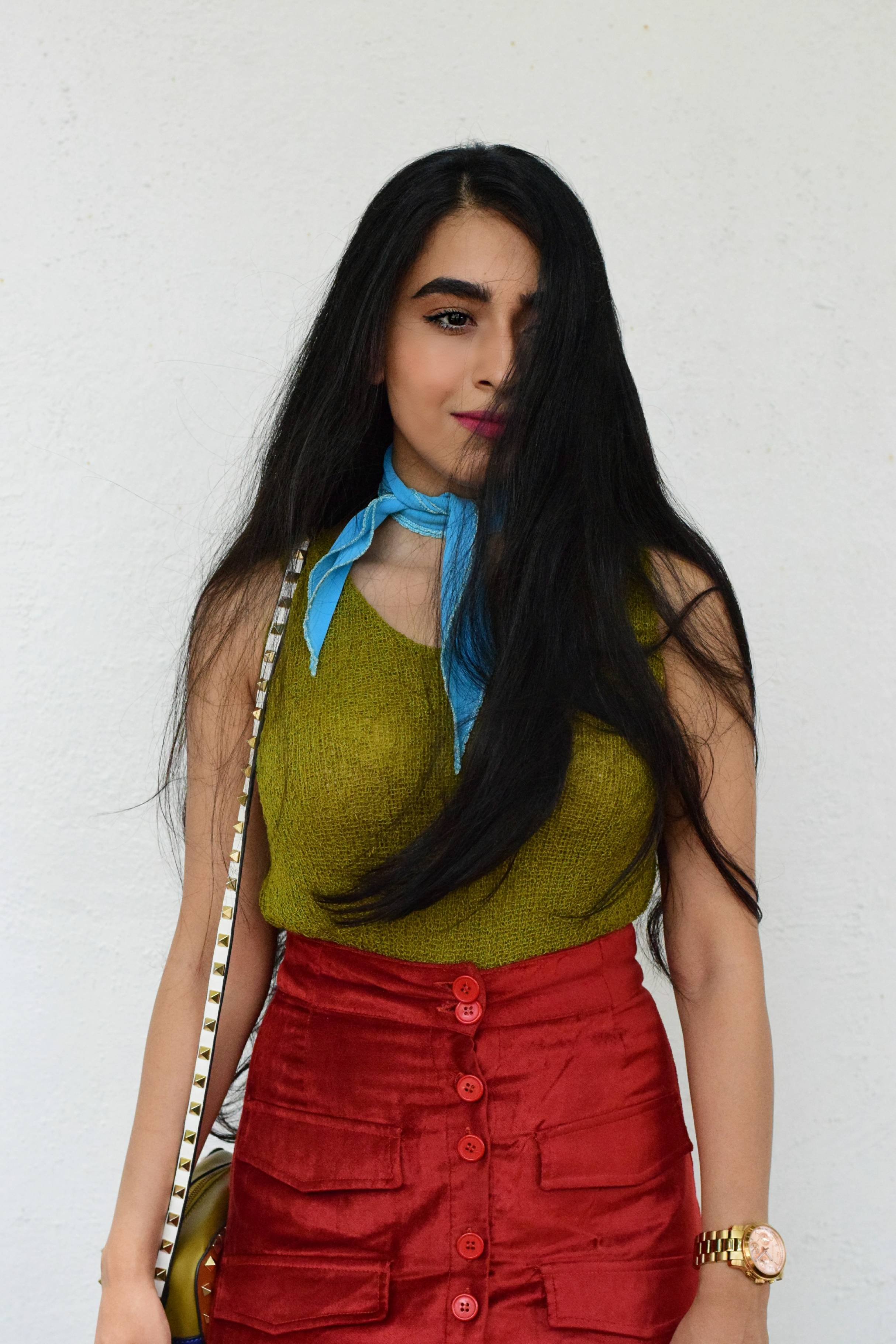 color riot, colorful style, strret style, lakme fashion week, mumbai streets, mumbai street style, fashion week, maroon skirt, skirt style, chartreuse, neck scarf, how to wear a scarf, studded bag, pink mules, mules, colorblocking, outfit, ootd, blogger, fashion blogger