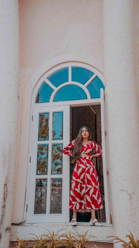 wearing a red printed crop top & skirt co-ord set - summer outfits