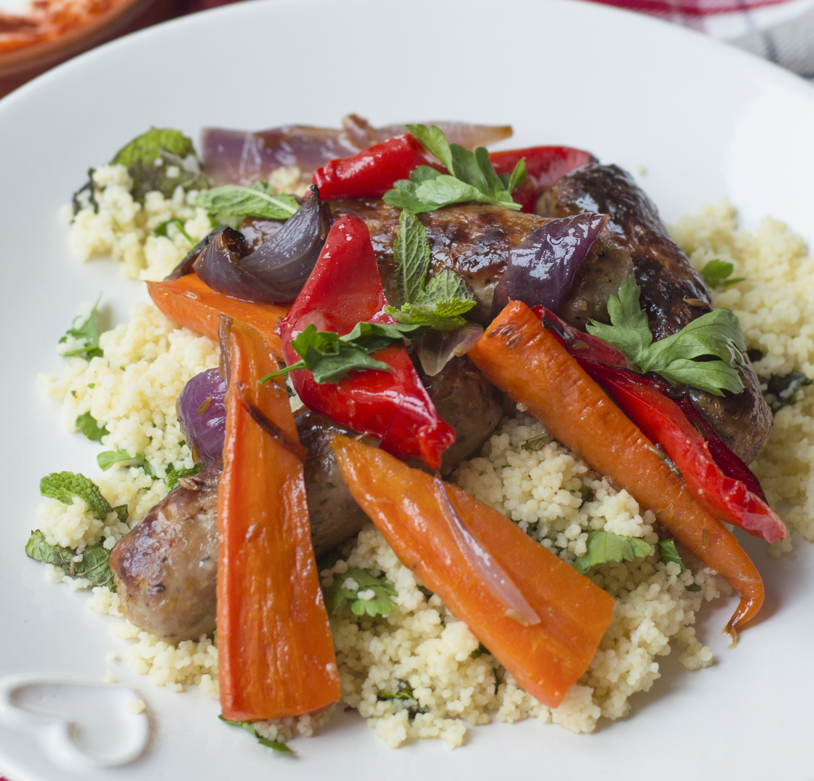 Sweet Sausages with Harissa Couscous3