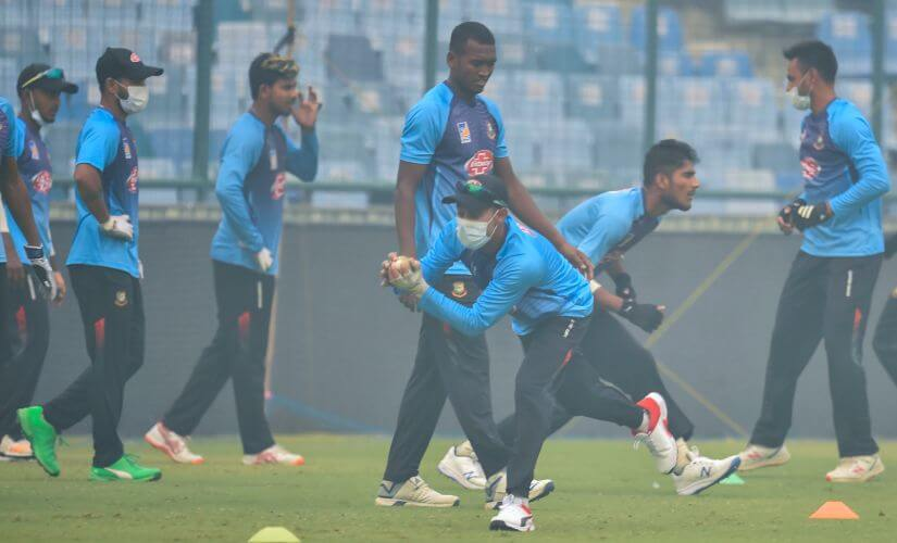 Bangladesh Players Wearing Masks During Practice in Delhi