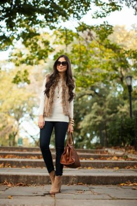 Faux Fur Winter Warm Outfits Street Style Fashion