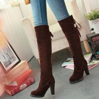 Brown knee boots