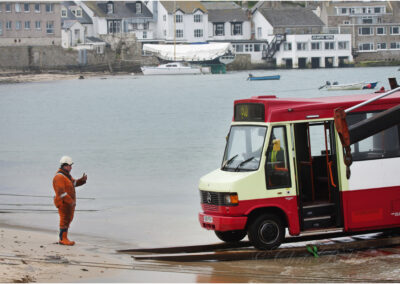 "A new bus arrives on the Scilly Isles; this image was used on ""Have I Got News for You"" by the BBC."