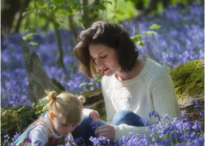 Among the Bluebells. A Mother and Child portrait.