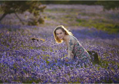 Down in the bluebells. A very cold photo shoot but with some beautiful light!