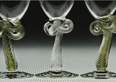 Twisted-stemmed wine glasses: taken as part of a job for a glass-blowing company's web site.