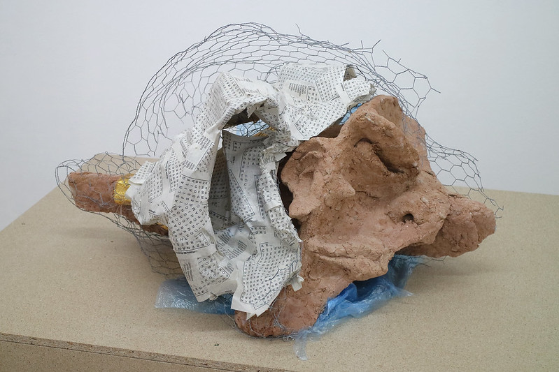 Harley Kuyck-Cohen: Sleeper Assemblage (2018); Papier-mâché, Paper Pulp, Chicken Wire, Fabric, Plastic Wrap. 45x60x80