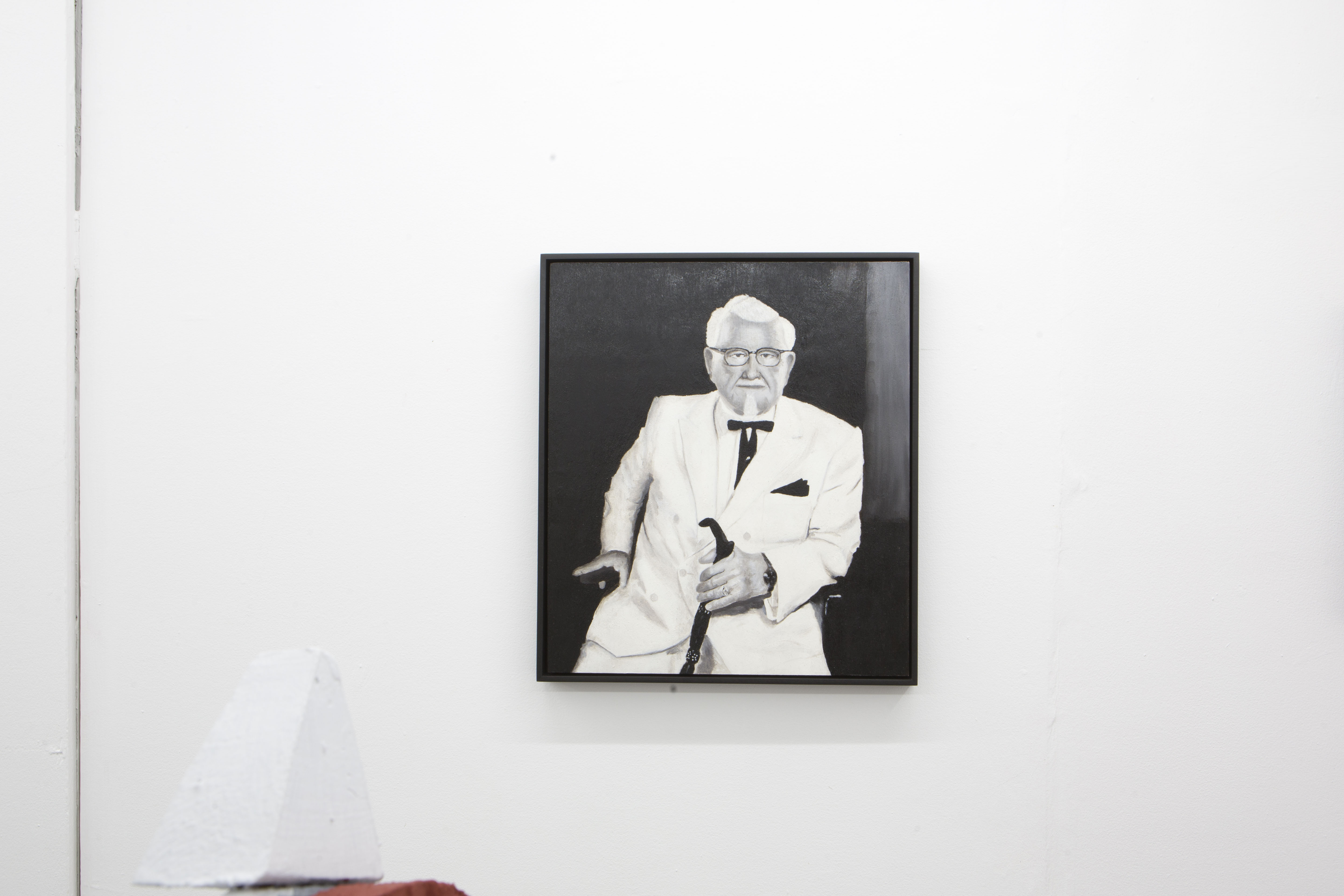 Jack Hirons Colonel Sanders (2019) 40x35cm; Oil paint made from charred discarded chicken bones on board.