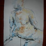 Nude leaning ink and pastel