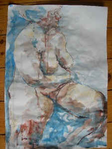 Female nude sitting turning pastel ink