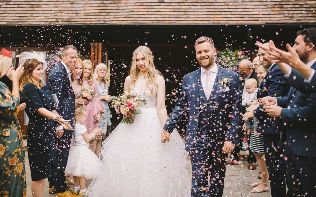 A Blush Hayley Paige Dress for a Romantic + Whimsical English Country Garden Inspired Wedding at Long Furlong Barn
