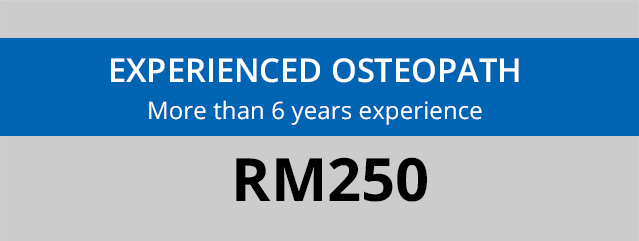 Banner showing fees for a consultation with an experienced osteopath at Oneosteo