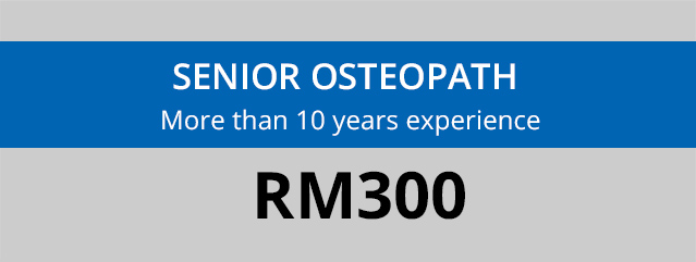 Banner showing fees for a consultation with a senior osteopath at Oneosteo