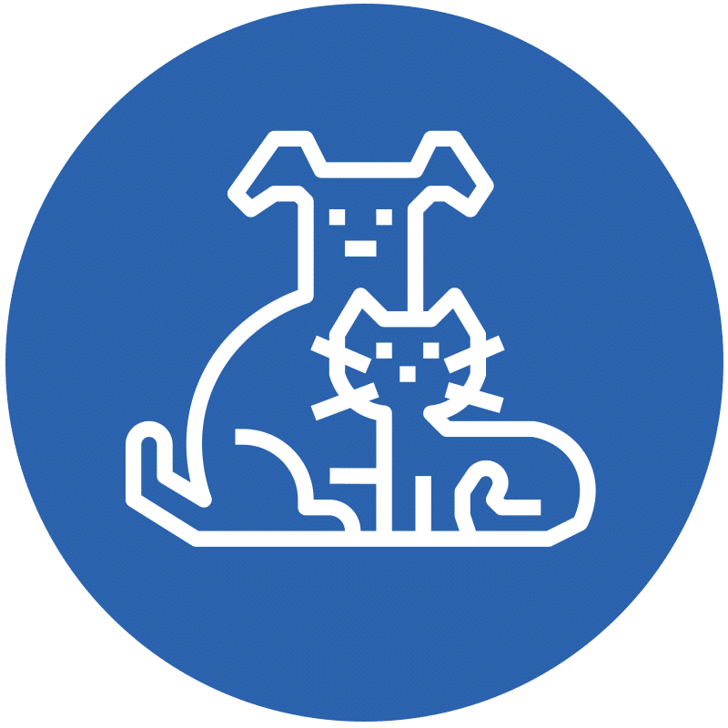 Icon representing a dog and a cat for animal osteopathy