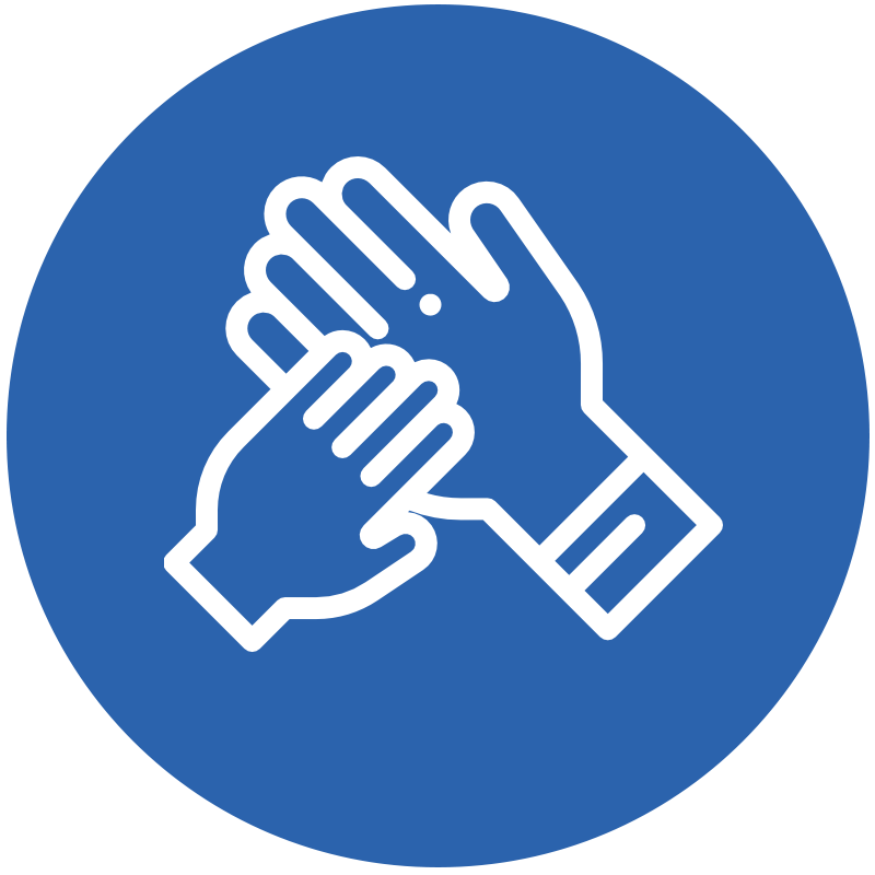 Icon representing parent and child hands for special needs children