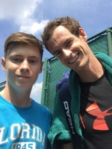 Luke Turnbull is pictured with Andy Murray