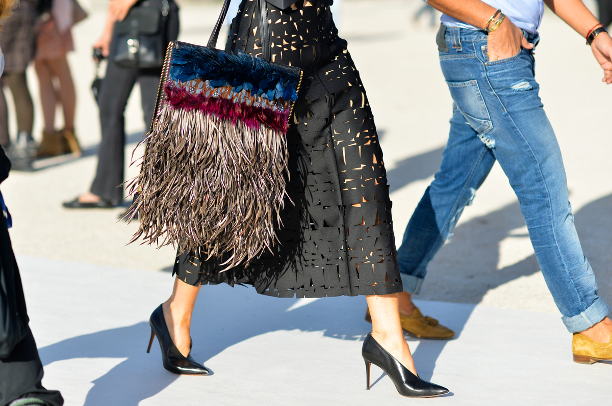 Feather Bag and Cut Out Skirt, Outside Nina Ricci