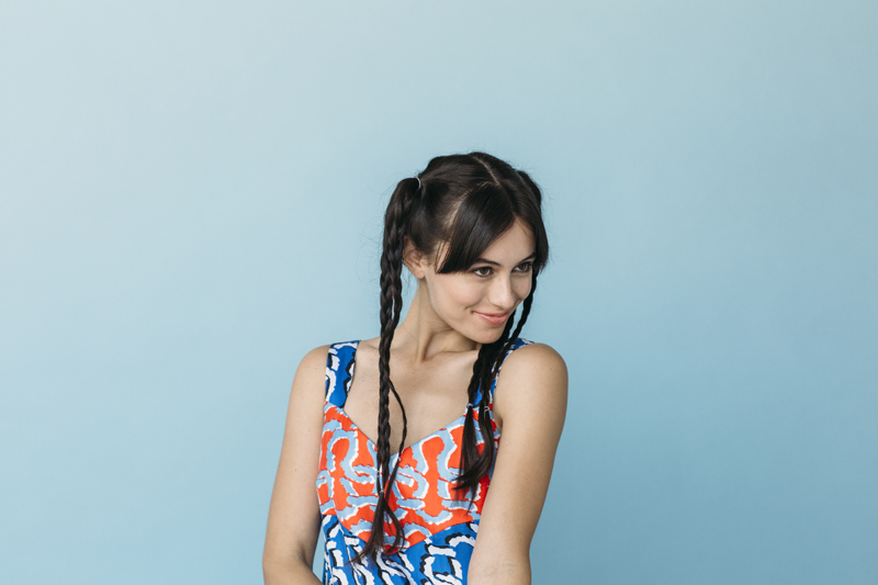 Blogger and actress Marta Pozzan wearing a KENZO dress from Elyse Walker.