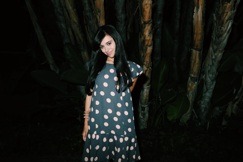 Blogger and actress Marta Pozzan wearing a LOFT polka dots dress.