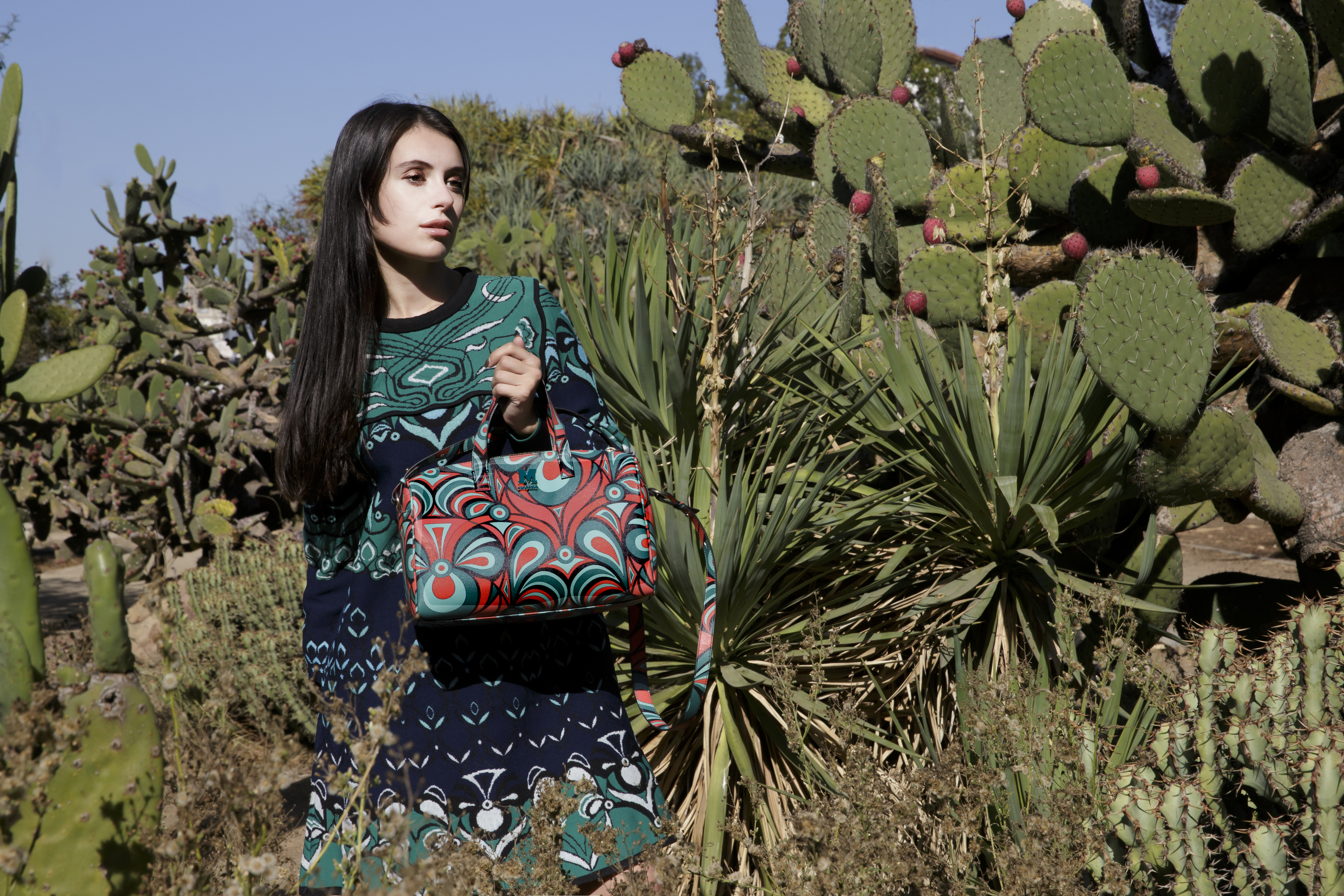 Actress and influencer Marta Pozzan in M Missoni winter flowers prints.
