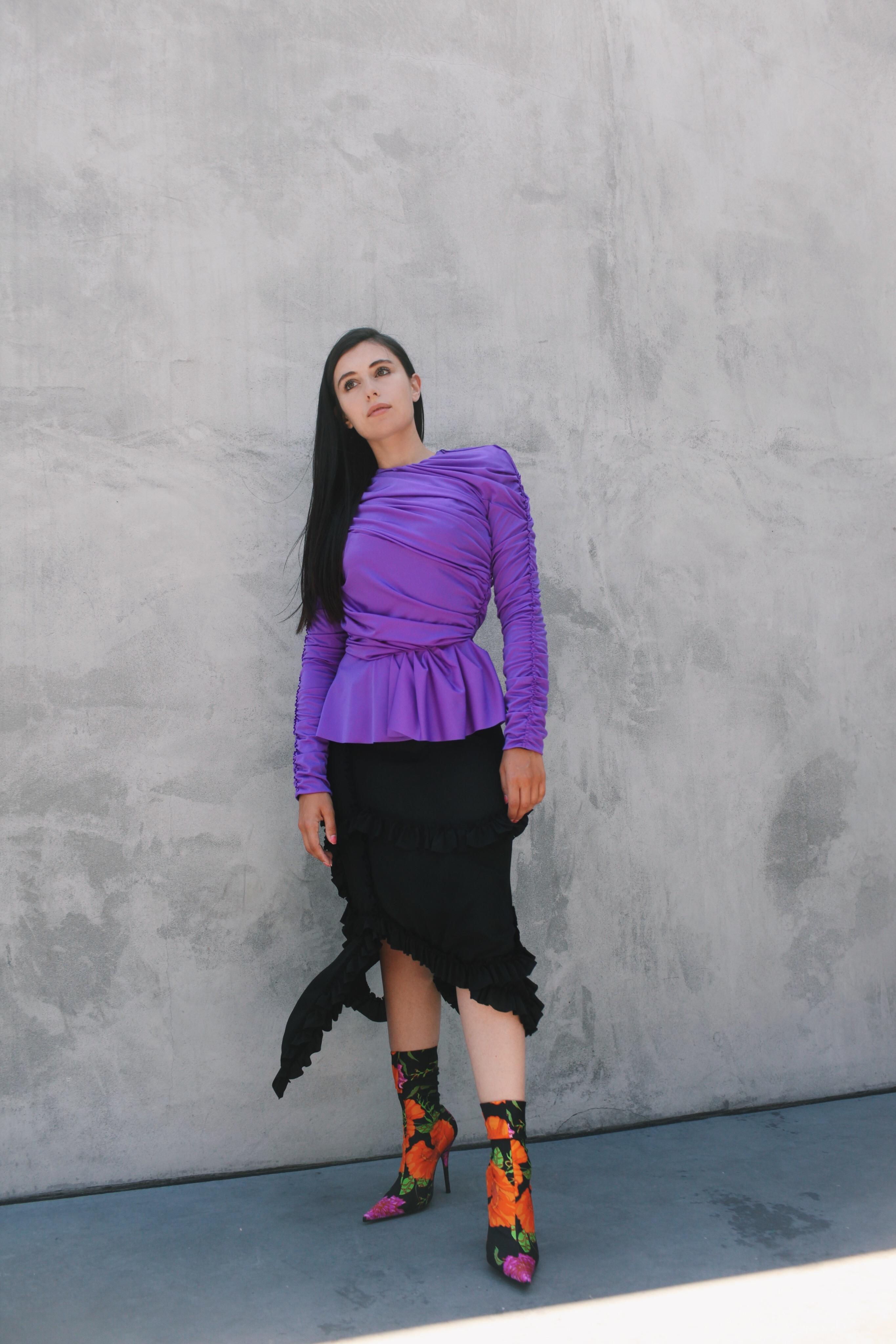 Model and actress Marta Pozzan in Balenciaga at Maxfield, 2017.