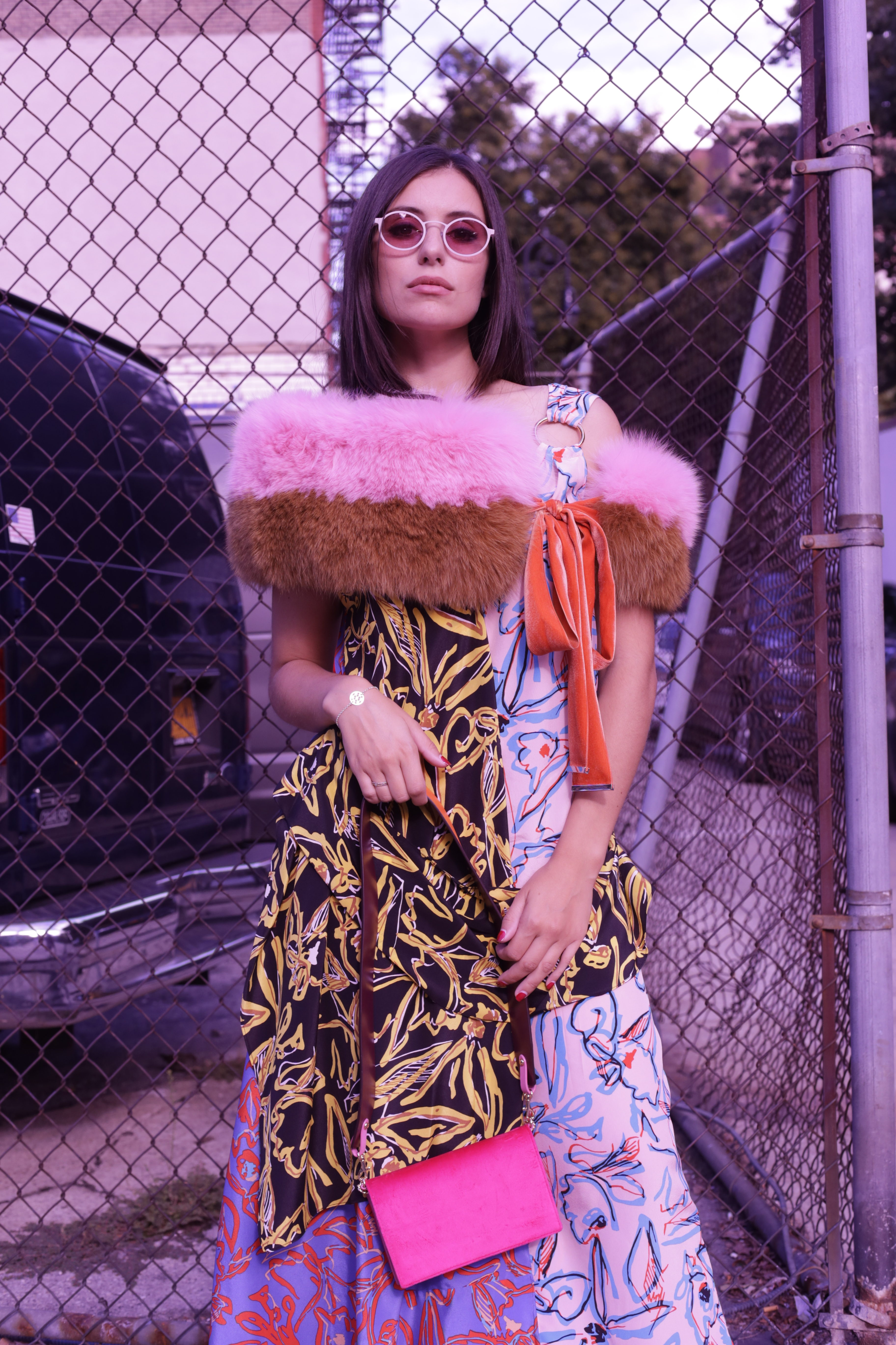 Actress and influencer Marta Pozzan wearing a total DVF look during NYFW.