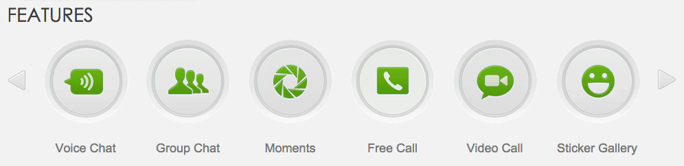 A screen grab from WeChat's website showing their feature buttons