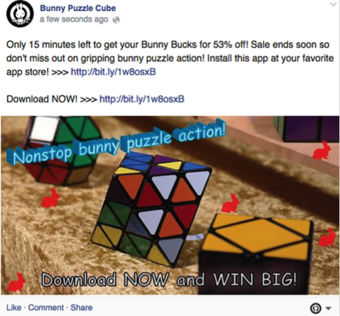 Facebook promotional post example