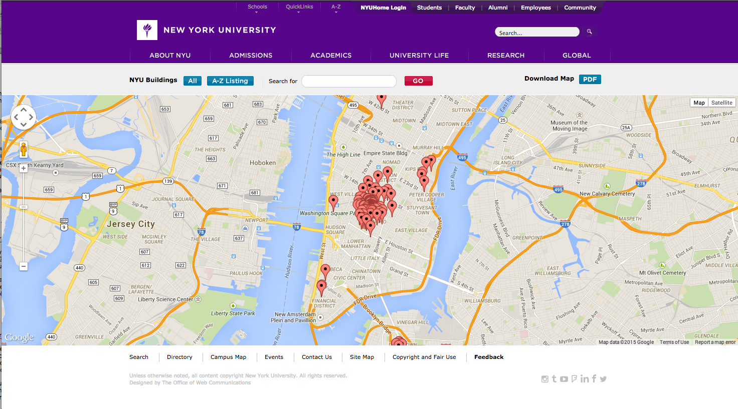 New York University interactive map