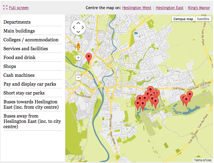 University of York interactive map