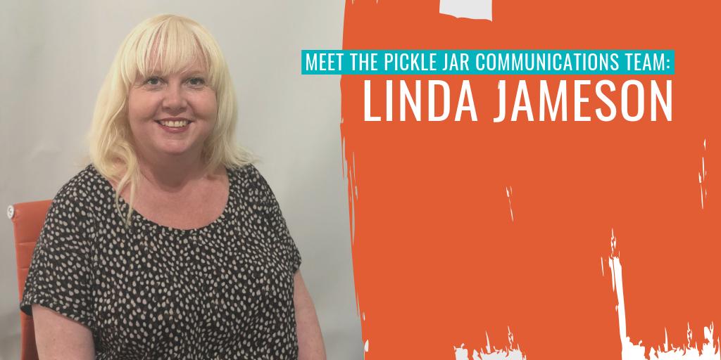 "Linda Jameson on the left. Text reads ""Meet the Pickle Jar Communications team: Linda Jameson""."