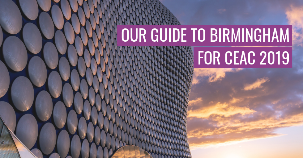 "A building in Birmingham. Text reads ""Our guide to Birmingham for CEAC 2019""."