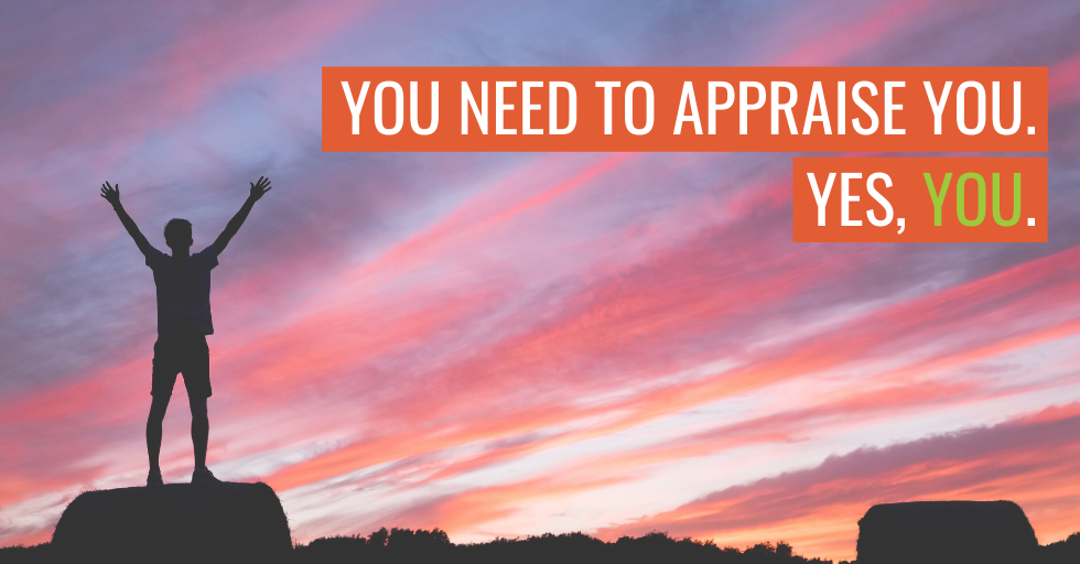 "A person standing on a cliff. Text reads ""You need to appraise you. Yes, you."""
