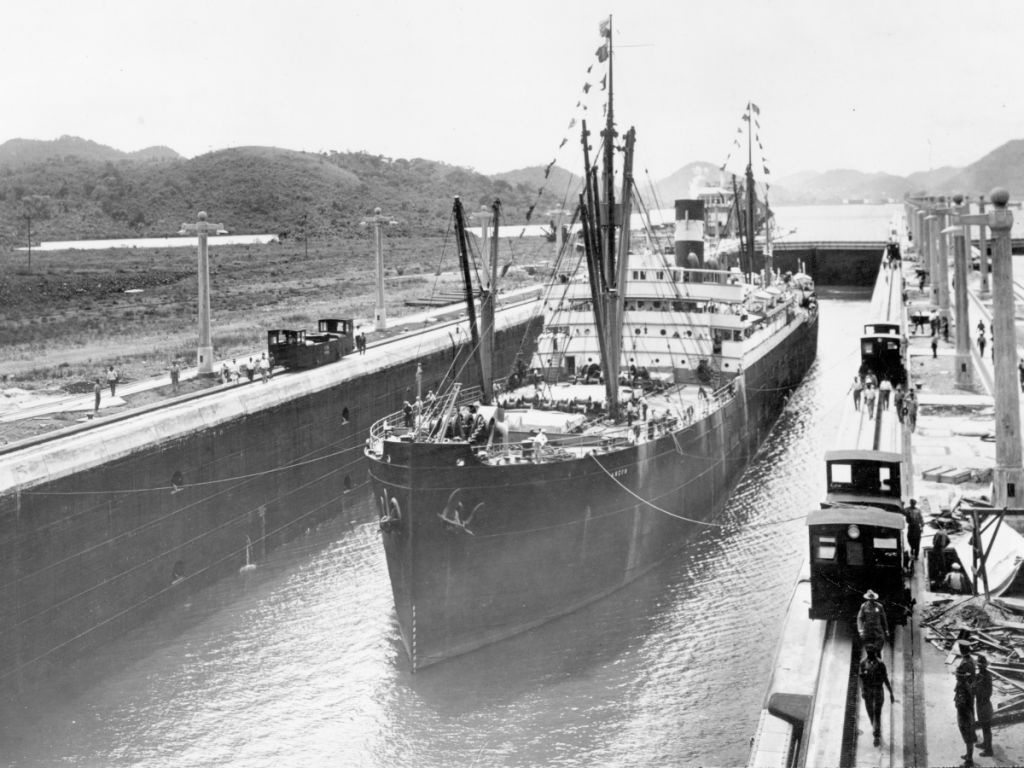 Panama Canal: ship crossing circa 1930