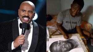 Nigerian boy who drew painting of Kevin Hart appears on Steve Harvey Show