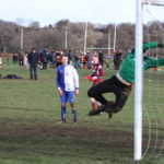 Harvey Sykes shot loops over the Burley keeper for KDR's 4th goal