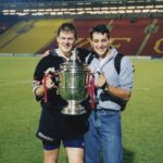 Tettley's Bitter cup with team mate Richard Wallace